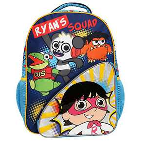 Ryan's World Backpack for Boys & Girls with Front and Mesh Side Pockets, Blue
