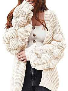 YeMgSiP Womens Oversized Chunky Open Front Cardigan Pom Pom Balloon Sleeve Knit Duster Sweaters Kimono Coat Beige