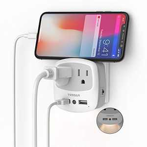 USB Outlet Plug Extender, TESSAN Double Power Outlet Expander with USB Wall Charger and Night Light Adapter for Travel Cruise Essentials, Mini Phone Charger with Multiple Outlet Splitter