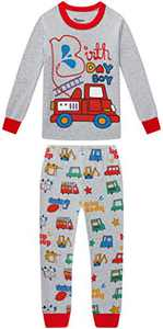 Boys Christmas Fire Truck Pajamas Baby Clothes Kid PJs Pants Clothing Set Sleepwear 5t