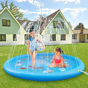 ASIILOVI Splash Pad, 68'' Sprinkler for Kids Toddlers, Summer Backyard Water Toys, Outdoor Splash Pad for Kids Swimming Pool, Water Play Mat for Ages 1 - 14 Year Olds