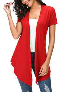 Womens Solid Open Front Short Sleeve Cardigan (M, Red)