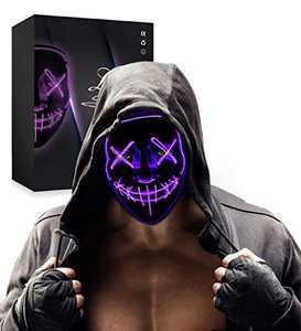 Halloween LED Mask Light up Scary Mask Festival Costume Party for Men Women Kids Purple