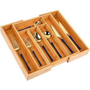 Silverware Utensil Tray Wooden Adjustable Cutlery Drawer 5 Compartments Organizer Storage Expandable Bamboo Flatware Organizer for Office Supplies,Cosmetics ,Utility Accessories