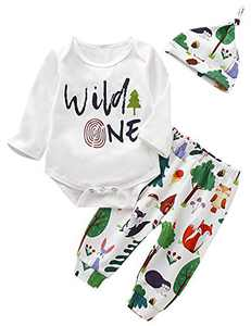 Shalofer Baby Boys Wild One Outfit First Birthday Animals Clothes Set (Green,6-12 Months)