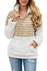 Alelly Women's Zipper Sherpa Pullover Soft Fuzzy Fleece Sweatshirt Jacket Sweater Winter Coat