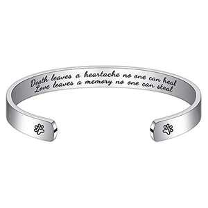 Hidepoo Dog Sympathy Gifts for Dog - Custom Engraved Pets Name Sympathy Gifts for Loss of Pet Dog Cat, Personalized Engraved Pets Name Cuff Bangle Bracelet ,Pet memorial Jewelry for Women Men