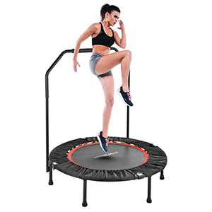 Wonder Maxi Mini Fitness Trampoline, 40 Inch Foldable Rebounder Trampoline with Handrail and Safety Pad for Kids Adults Indoor Outdoor Workout Cardio Exercise
