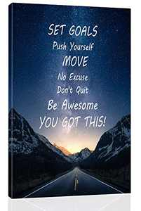Inspirational Wall Art for Office, College Dorm, Home - 18x12 inch Motivational Canvas Wall Art Decor with wooden Frame - Inspirational Quotes decor - Positive Quote Print