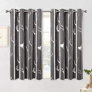KGORGE Botanical Blackout Curtains - Natural Bird on Tree Printed Curtains for Parlor Room Villa Farmhouse Home Office Kids Bedroom Window Decor, 2 Pcs, W 52 x L 45, Toffee-Grey