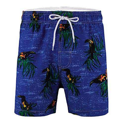 Meegsking Men's Quick Dry Swim Trunks Elastic Waistband Printed Beach Board Shorts Bathing Suits with Mesh Lining