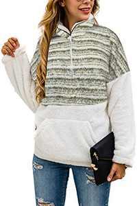 Alelly Women's Zipper Sherpa Pullover Soft Fuzzy Fleece Sweatshirt Jacket Sweater Winter Coat