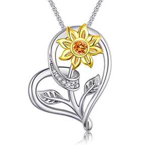 Klurent Valentines Day Sunflower Love Heart Pendant Necklace Jewelry My Sunshine Adjustable 18-20 Inches Blessings for Women Daughter Wife 925 Sterling Silver Jewelry Birthday (14k Gold plated Yellow)