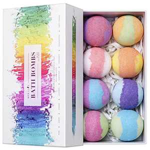 Aprilis Bath Bombs Gift Set, Organic & Natural Essential Oil Bath Bombs for Dry Skin Moisturizing, Handmade Fizzy Spa Bath Set, Perfect Christmas/Birthday Gift for Women and Kids, Pack of 8