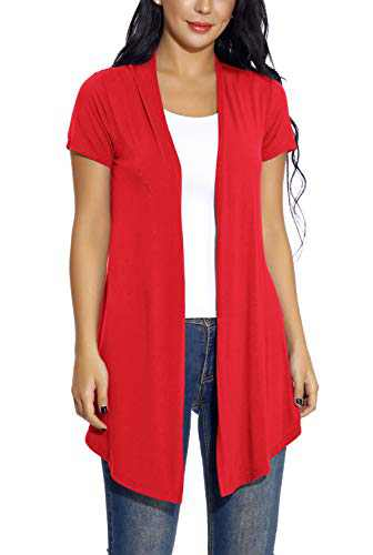 Women's Soft Drape Cardigan Short Sleeves Solid Lightweight Cardigan (M, Red)