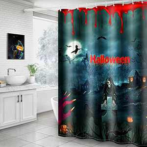 Hoomall Shower Curtain, Halloween Blood Hand Red 71x71 Inch Shower Curtain Decorative Bath Curtain Durable with Hooks Fabric Waterproof Muilt Function (71x71 inches, C1-Blood Hand Red)