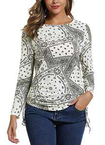 Women's Long Sleeve Boat Neck Drawstring Floral Tops (M, 3)