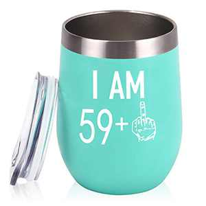59 Plus One Middle Finger Wine Tumbler 60th Birthday Gifts for Women, Funny Wine Tumbler with Saying Gifts Idea for Friends Her Wife Mom Coworkers, 12 Oz Insulated Tumbler Glasses, Mint