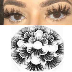 8D Mink Eyelashes 7 Pairs 25mm Eye Lashes Handmade Can Be Trimmed Dramatic Long False lashes Extension Woman' Fashion (C717)