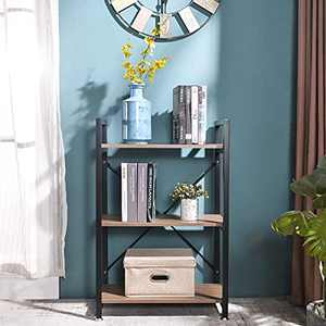 BENOSS Industrial Style Bookcases Furniture, Storage Rack Shelf for Bedroom, Living Room, Multi-Functional Shelf Units for Collection, Storage Organizer with Metal Frame (3 Tier)
