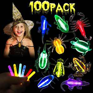 R HORSE 100 Pcs Glow Sticks Necklaces Halloween Light Up Necklaces with Assorted Bugs for Halloween In The Dark Party Favors (60 Glow Sticks+20 Bugs+20 Ropes)