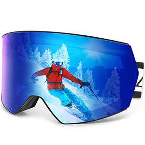 Zacro Ski Goggles Anti Fog - UV Protection Frameless OTG Snowboard Goggles Pro with Dual-Layer Magnetic Interchangeable Lens, Over Glasses Snow Goggles Anti-Slip Strap for Men, Women & Youth