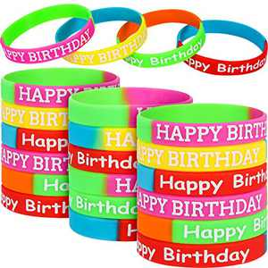 Happy Birthday Rubber Bracelets Colored Silicone Bracelets for Teenagers Birthday Party Favors for Happy Birthday Party Supplies (24 Pieces, Style Set 1)