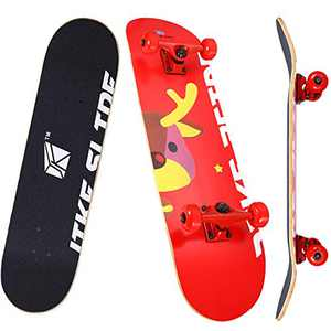 JIKE SLIDE 31 inch Complete Skateboards, Skateboard for Kids/Boys/Girls/Youth/Adults, Tricks Skate Board for Beginners & Pro, Double Kick 7 Layer Maple Wood Standard Skateboard (Red)