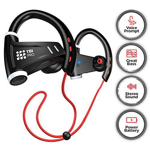 [Upgraded 2020] 12+Hours Sport Bluetooth Headphones - Professional Wireless Sport Earphones w/Mic - IPX7 Waterproof Deep Bass Music in-Ear Earbuds for Gym, Exercise, Running Workout for Men, Women