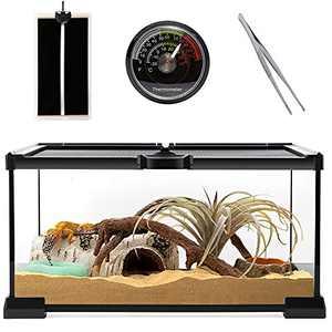 "Reptile Glass Terrarium - Amphibians Tank 12"" x 8"" x 6.3"" Starter Kits, Top Sliding Door Screen Ventilation Mini Habitat Cages with Heating Mat, Stainless Steel Tweezer, Hygrometer Thermometer"