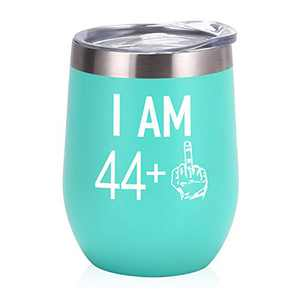 44 Plus One Middle Finger Wine Tumbler 45th Birthday Gifts for Women, Turning 45 Funny Tumbler Gifts Idea for Friends Her Wife Mom Coworkers, 12 Oz Insulated Tumbler Glasses, Mint