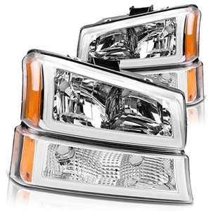 DWVO Headlight Assembly Compatible with 2003-2006 Chevy Avalanche Silverado 1500 2500 3500/2007 Chevrolet Silverado Classic (Chrome Housing)