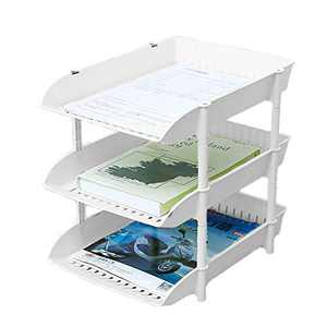 Uncluttered Designs Three Tier Tray - Stackable Organization for Letters, Documents and More - Office, Cubicle, Kitchen & Bedroom Storage & Decor (White)