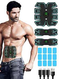 Abs Stimulator, 2021 Upgraded EMS Muscle Stimulator with 12PCS Extra Gel Pads Replacement for Building Muscles, USB Rechargeable Toning Belt Muscle Toner Abs Workout Equipment for Women & Men