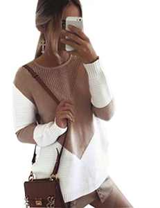 Cogild Women's Pullover Sweaters Long Sleeve Crew Neck Color Block Loose Cable Knit Sweater Camel