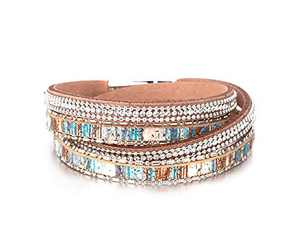 Fesciory Leather Wrap Bracelet for Women, Leopard Multi-Layer Magnetic Buckle Cuff Bracelet Jewelry