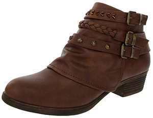 Sugar Women's Truth Triple Buckle Ankle Boot Ladies Side Zipper Bootie with Woven Wraparounds Studs and Overlay Chocolate Brown 7.5