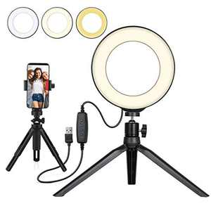 "Small LED Ring Light 6"" with Tripod Stand and Phone Holder for YouTube Video and Makeup, Mini LED Camera Light with Cell Phone Holder Desktop LED Lamp with 3 Light Modes & 10 Brightness Level"
