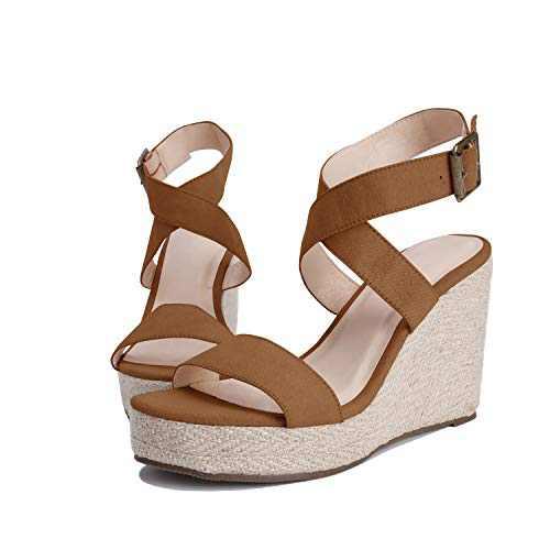 Womens Wedge Platform Espadrille Cross Ankle Strap Slingback Open Toe Summer High Heel Sandals