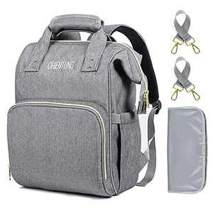 Diaper Bag Backpack, CHIENTUNG Baby Bag for Mom Women, Large Travel Back Pack for Baby Boys, Girls with insulated Pockets, Changing Pad, Stroller belts, Maternity Nappy Bookbag, Grey