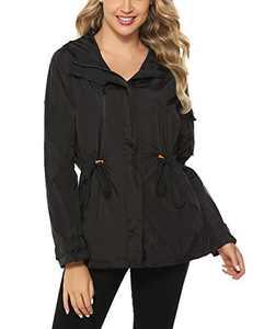 Abollria Women's Waterproof Windbreaker Hooded Raincoats Rain Jacket Active Outdoor Outwear