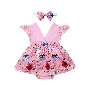 Toddler Baby Girl 2Pcs Romper + Headband Floral Sleeveless Lace Infant Newborn Jumpsuit Sets (0-6 Months, Pink)
