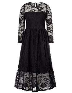 Girls Shift Flower Lace Dresses with Sleeves Princess Dress Black,6-7Y
