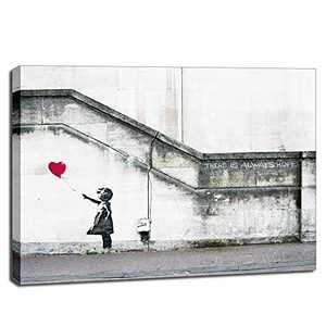 Canvas Wall Art Quotes for Bedroom- There is Always Hope Balloon Girl Canvas- Stretched Canvas Prints Picture Modern Graffiti Artwork for Living Room Home Wall Decor