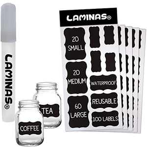 100 Chalkboard Labels Bulk [Upgraded] - Includes Erasable Chalk Marker - Dishwasher Safe - for Mason Jars - Removable Waterproof Blackboard Sticker Label Glass Bottle Kids Storage Stickers Vinyl Set