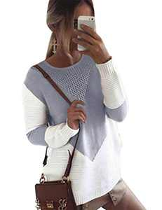 Cogild Women's Pullover Sweaters Long Sleeve Crew Neck Color Block Loose Cable Knit Sweater Grey