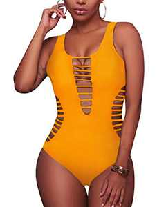 Aqua Eve Women Sexy One Piece Swimsuits Plunge Deep V Neck Cutout Bathing Suits Yellow Small