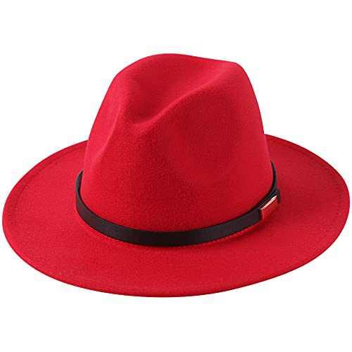Lanzom Women Lady Retro Wide Brim Floppy Panama Hat Belt Buckle Wool Fedora Hat (Z Belt-Red, One Size)