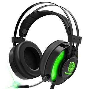 PS4 Gaming Headset, Taotique 7.1 Surround Sound Game Headset for Xbox One Noise Cancelling Gaming Headphones with Mic, Ergonomic Soft Earmuffs and LED Light for PC, Laptop - Green