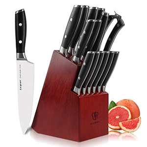 Letton Knife Set, 15-Piece Professional Kitchen Knife Set with Block Wooden Stainless Steel with Kitchen Scissors and Sharpener